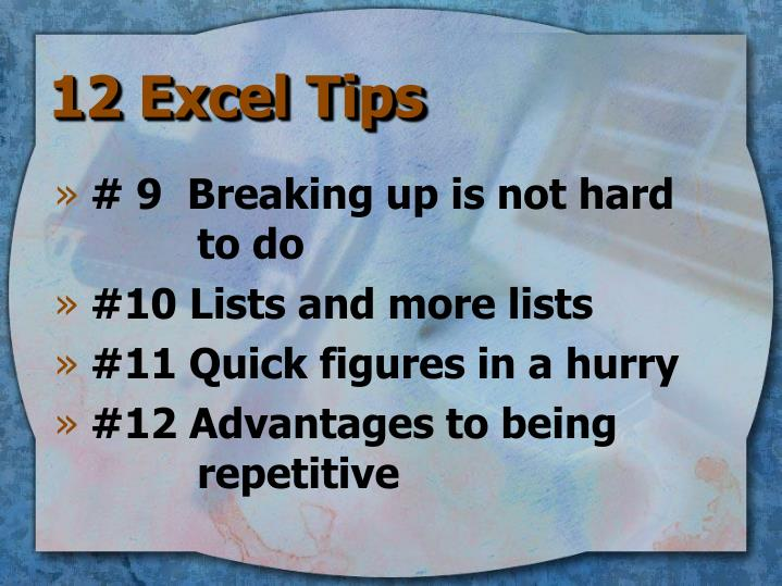 12 Excel Tips