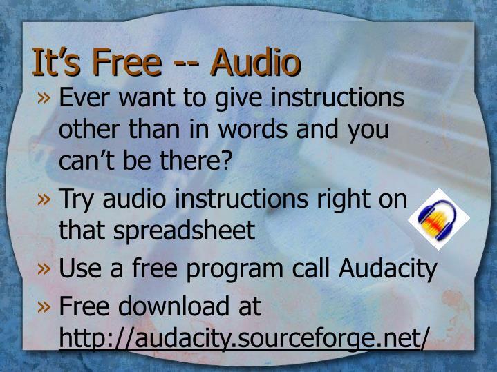 It's Free -- Audio