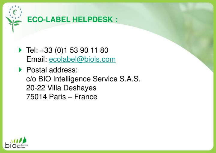 ECO-LABEL HELPDESK :