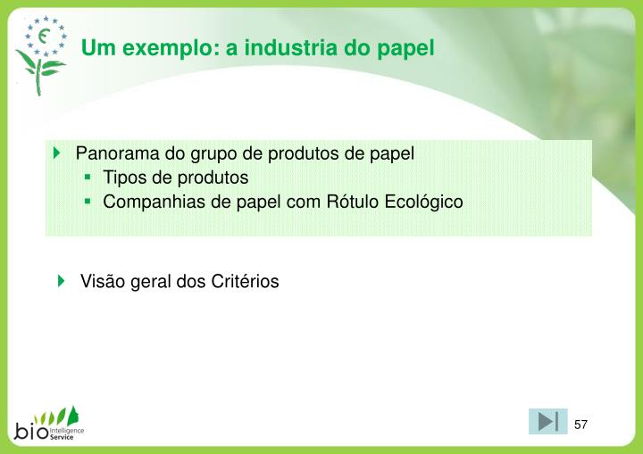 Um exemplo: a industria do papel