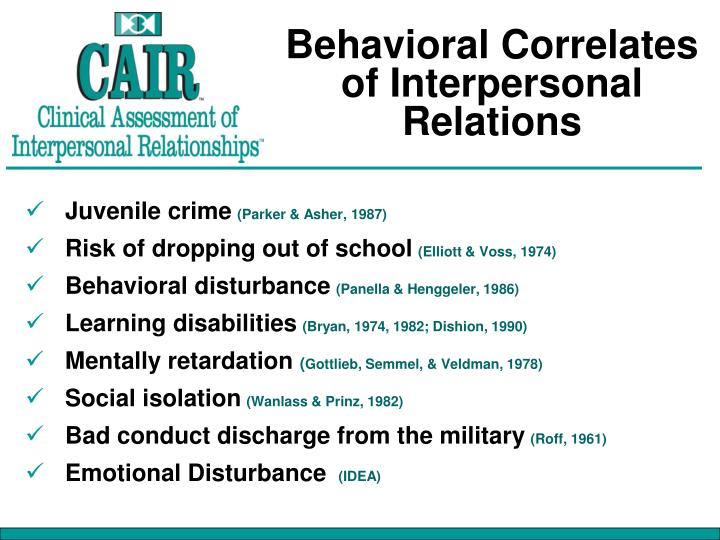 Behavioral Correlates of Interpersonal Relations