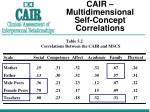 cair multidimensional self concept correlations