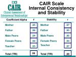 cair scale internal consistency and stability
