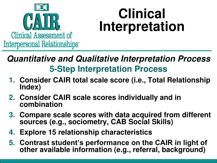Clinical Interpretation