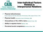 inter individual factors related to interpersonal relations