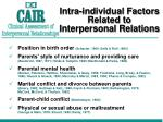 intra individual factors related to interpersonal relations