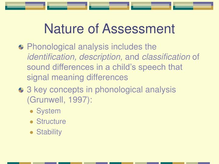 Nature of Assessment