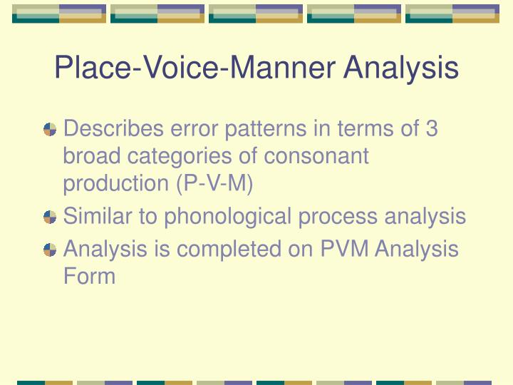 Place-Voice-Manner Analysis