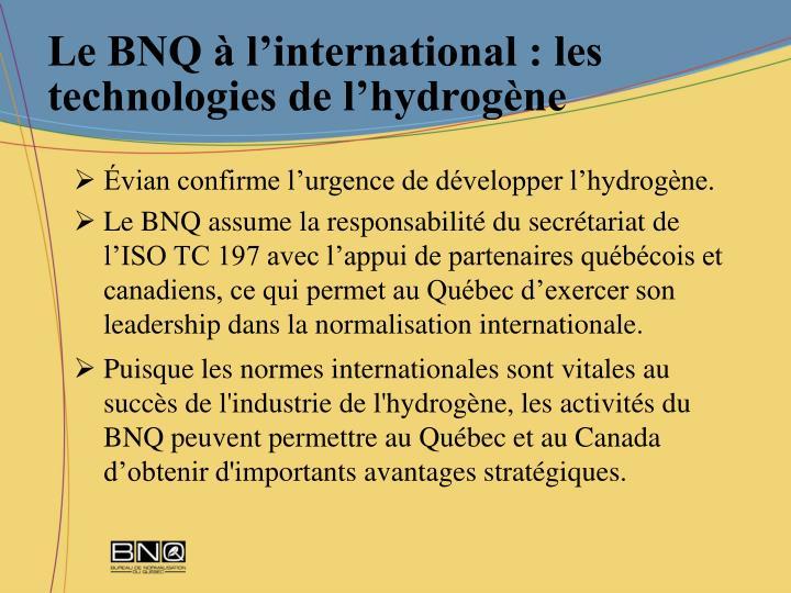 Le BNQ à l'international : les technologies de l'hydrogène