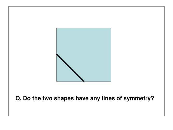 Q. Do the two shapes have any lines of symmetry?