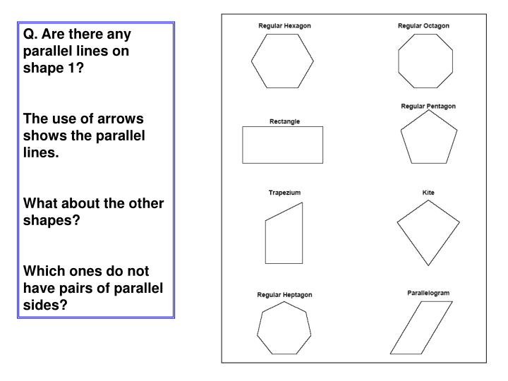 Q. Are there any   parallel lines on shape 1?