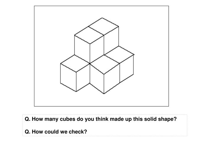 Q. How many cubes do you think made up this solid shape?