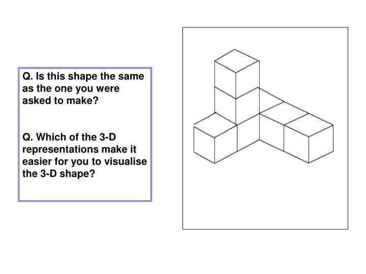 Q. Is this shape the same as the one you were asked to make?