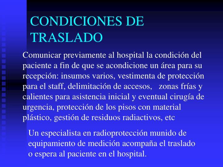 CONDICIONES DE TRASLADO