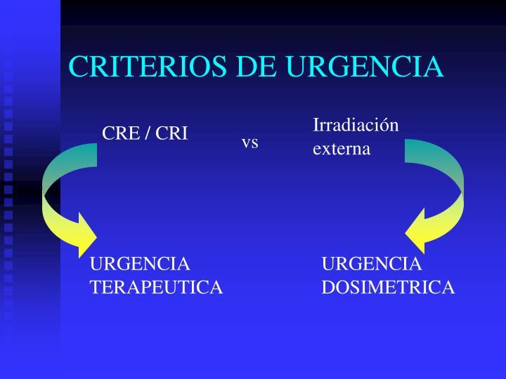 CRITERIOS DE URGENCIA
