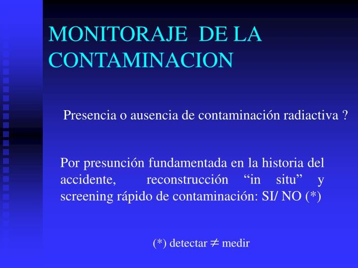 MONITORAJE  DE LA CONTAMINACION