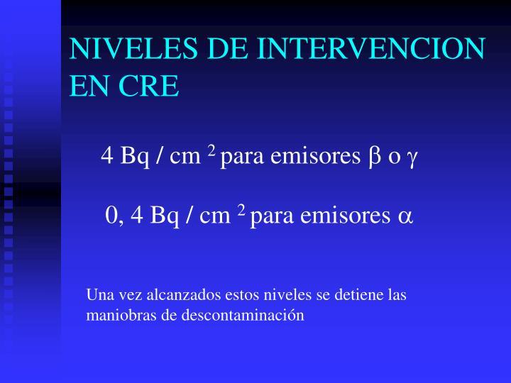 NIVELES DE INTERVENCION EN CRE