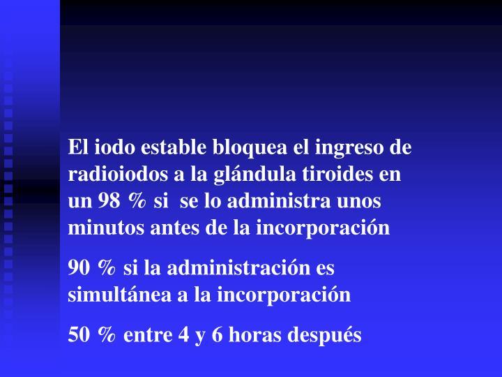 El iodo estable bloquea el ingreso de radioiodos a la glándula tiroides en  un 98 % si  se lo administra unos minutos antes de la incorporación