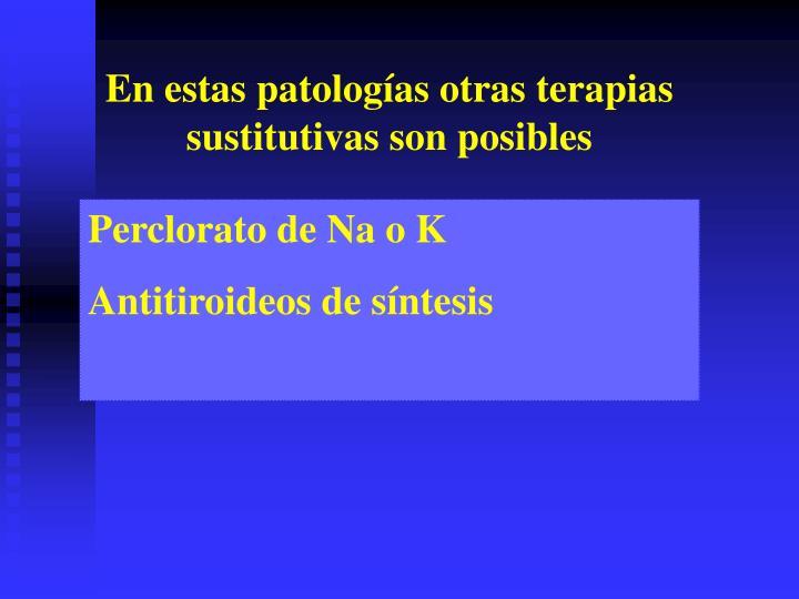 En estas patologías otras terapias sustitutivas son posibles