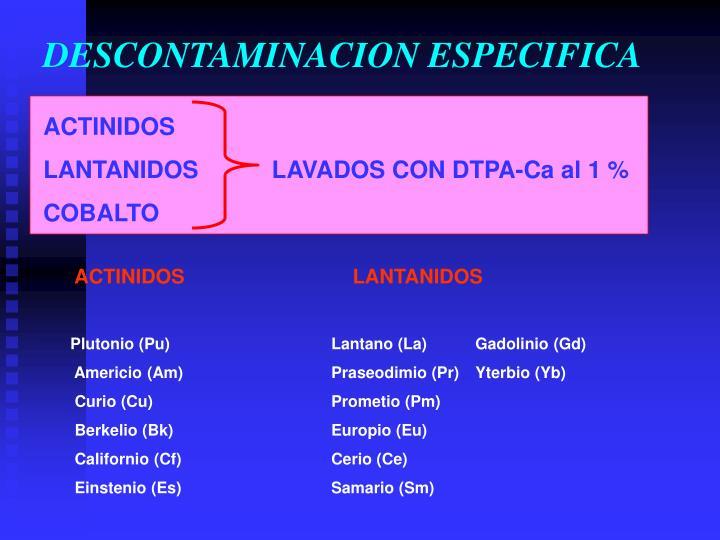 DESCONTAMINACION ESPECIFICA