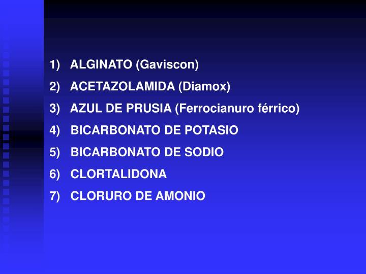 1)   ALGINATO (Gaviscon)
