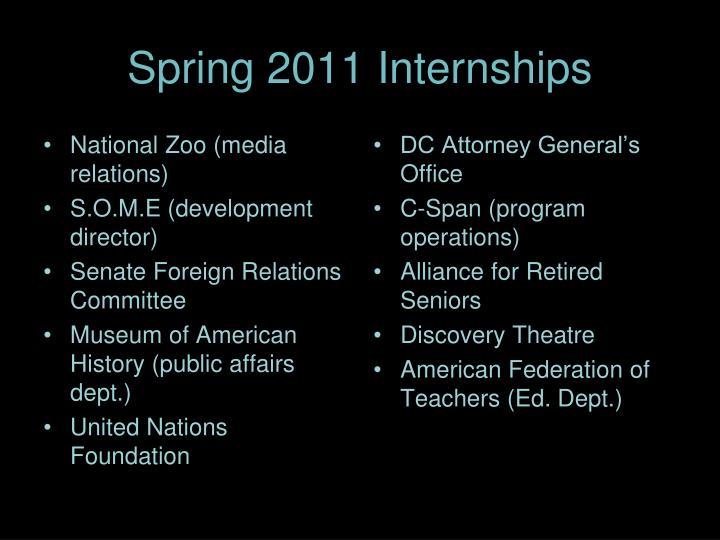 Spring 2011 Internships