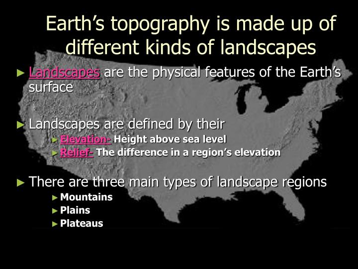 Earth's topography is made up of different kinds of landscapes