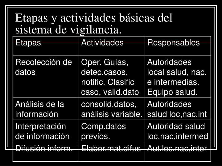 Etapas y actividades básicas del sistema de vigilancia.