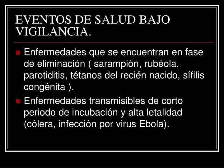 EVENTOS DE SALUD BAJO VIGILANCIA.
