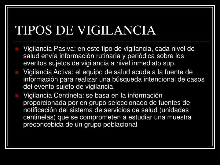 TIPOS DE VIGILANCIA