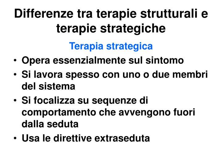 Differenze tra terapie strutturali e terapie strategiche