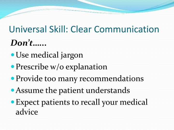 Universal Skill: Clear Communication