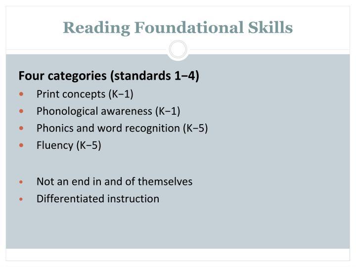 Reading Foundational Skills