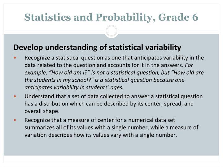 Statistics and Probability, Grade 6