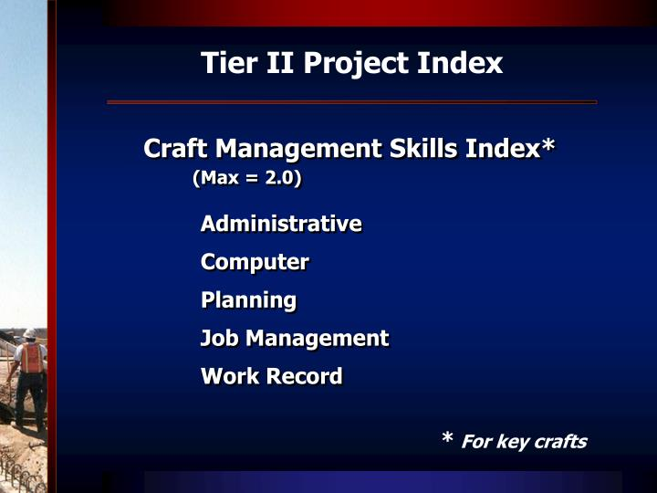 Tier II Project Index