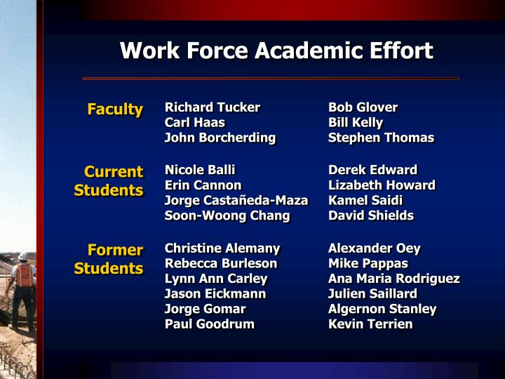 Work Force Academic Effort