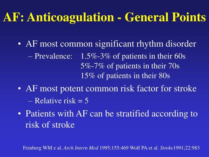 AF: Anticoagulation - General Points