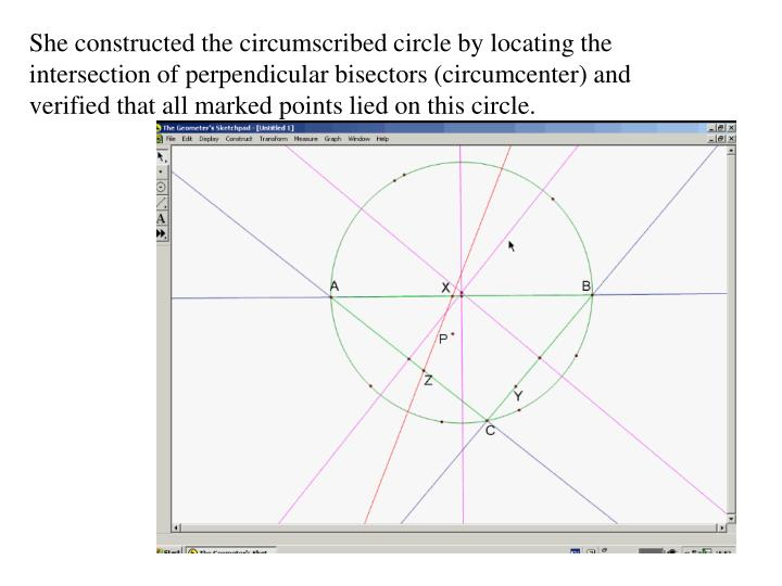 She constructed the circumscribed circle by locating the intersection of perpendicular bisectors (circumcenter) and verified that all marked points lied on this circle.