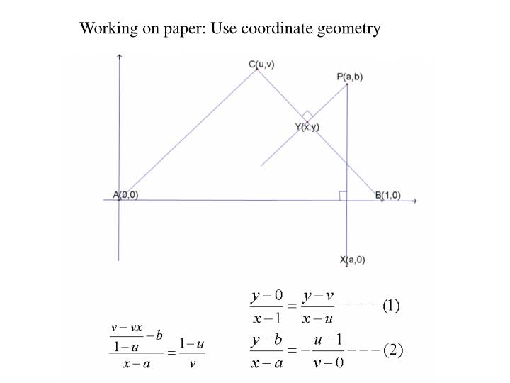 Working on paper: Use coordinate geometry