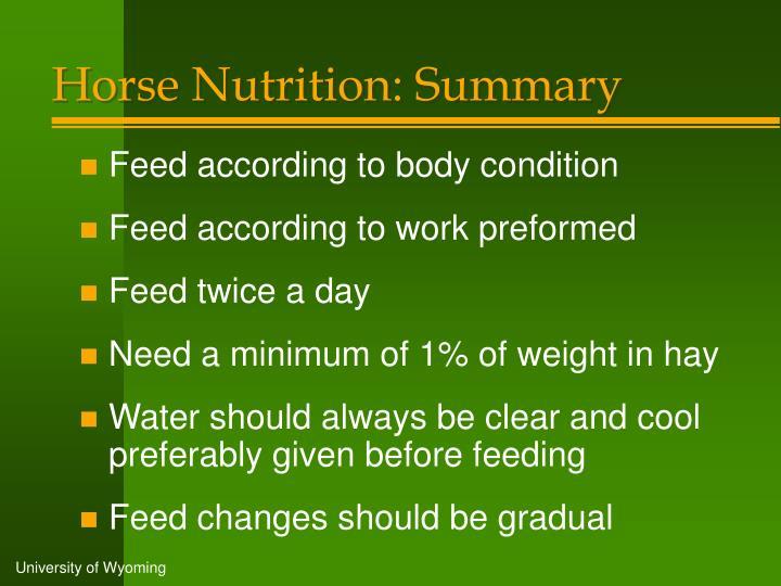 Horse Nutrition: Summary