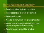 horse nutrition summary