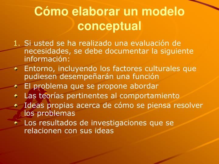 Cómo elaborar un modelo conceptual