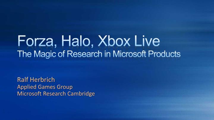 Forza halo xbox live the magic of research in microsoft products