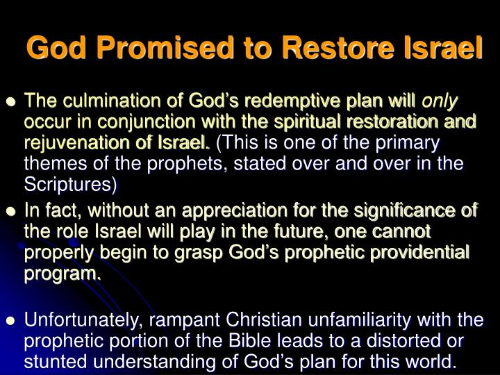 God Promised to Restore Israel