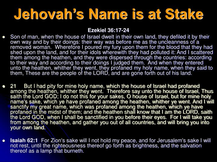 Jehovah's Name is at Stake