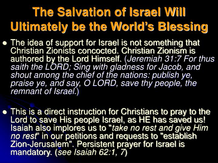 The Salvation of Israel Will Ultimately be the World's Blessing