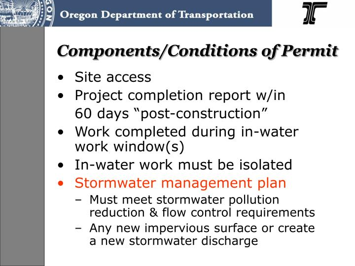 Components/Conditions of Permit
