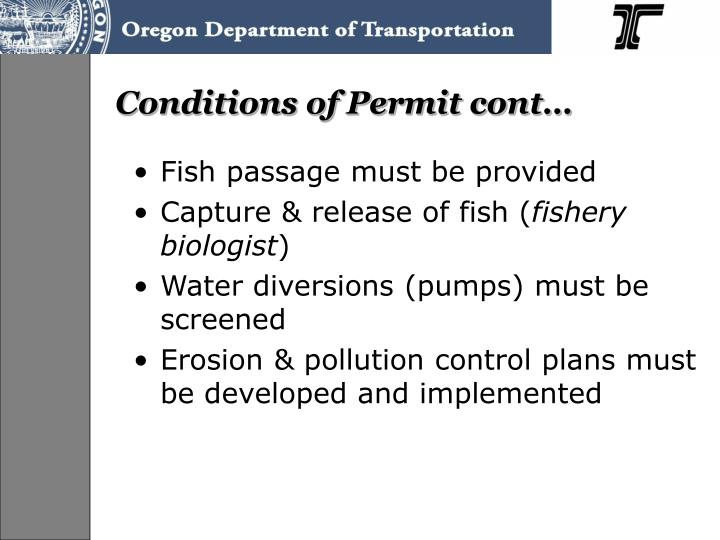 Conditions of Permit cont…