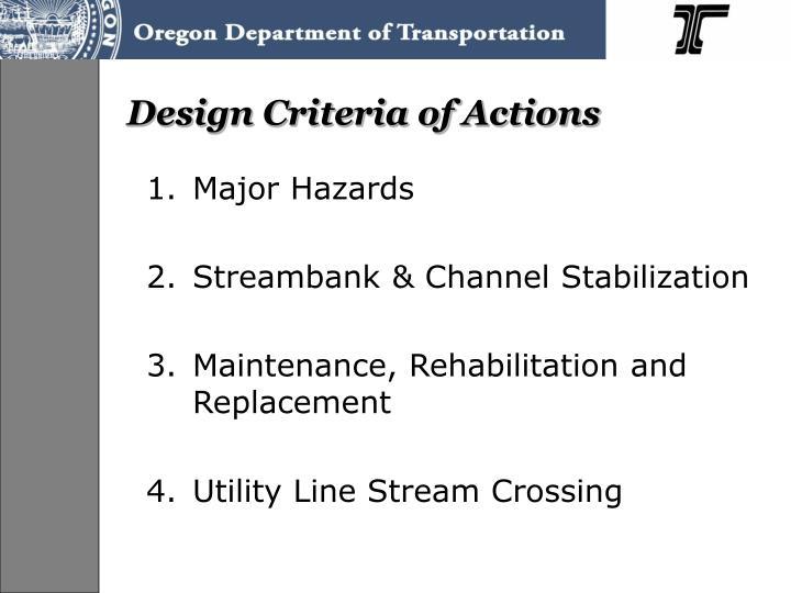 Design Criteria of Actions