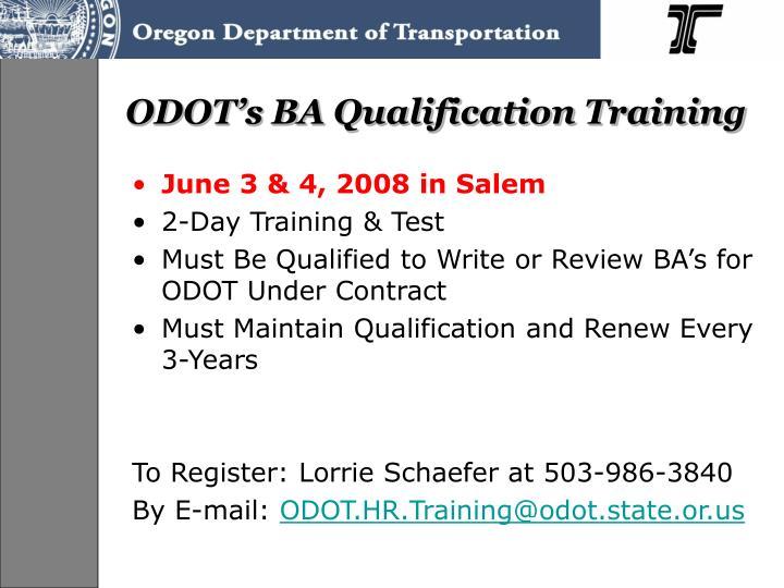 ODOT's BA Qualification Training